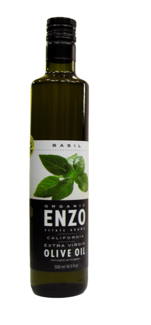 Enzo Estate Grown California Extra Virgin Olive Oil Infused with Basil