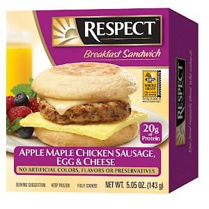 RESPECT Breakfast Sandwich Apple Maple Chicken Sausage, Egg & Cheese