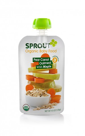 Sprout Organic Baby Food Pear Carrot Oatmeal with Maple