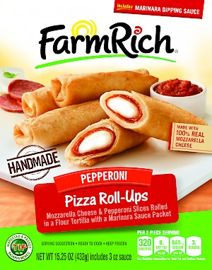 FarmRich Pizza Roll Ups Mozzarella Cheese & Pepperoni with marinara sauce is a HIT.