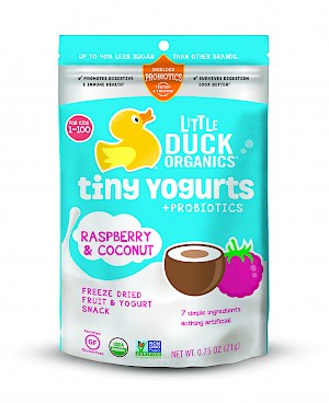 Little Duck Organics tiny Yogurts + probiotics raspberry & coconut is a HIT!