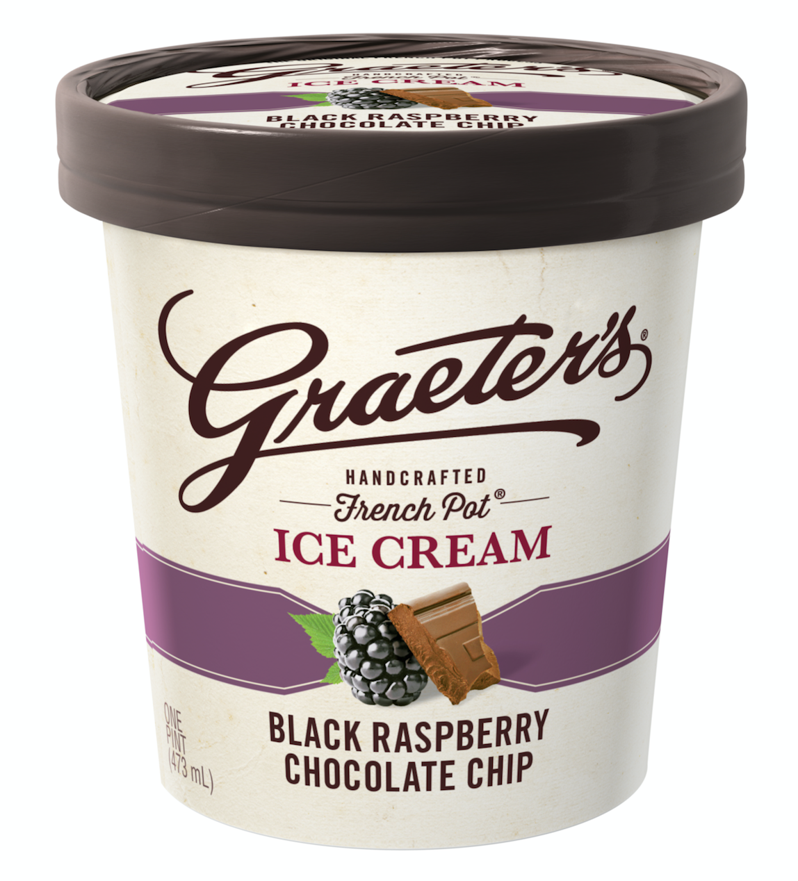Graeter's Ice Cream Handcrafted French Pot Black Raspberry Chocolate Chip