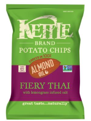 Kettle Potato Chips 100% Almond Oil Fiery Thai