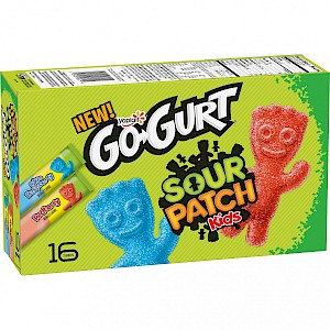 Yoplait Go-Gurt Sour Patch Kids Blue & Red Raspberry Low Fat Yogurt Tubes