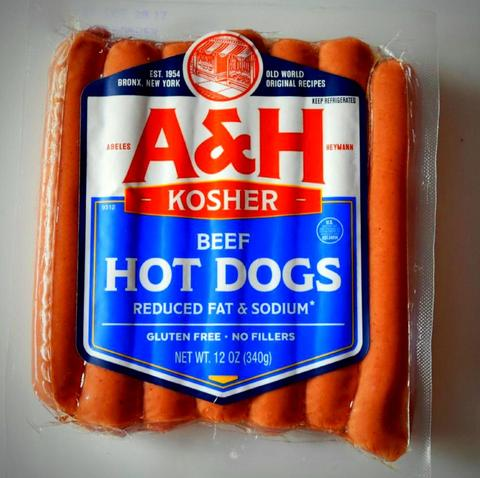 Abeles and Heymann (A&H) All Beef Kosher Hot Dogs Reduced Fat & Sodium